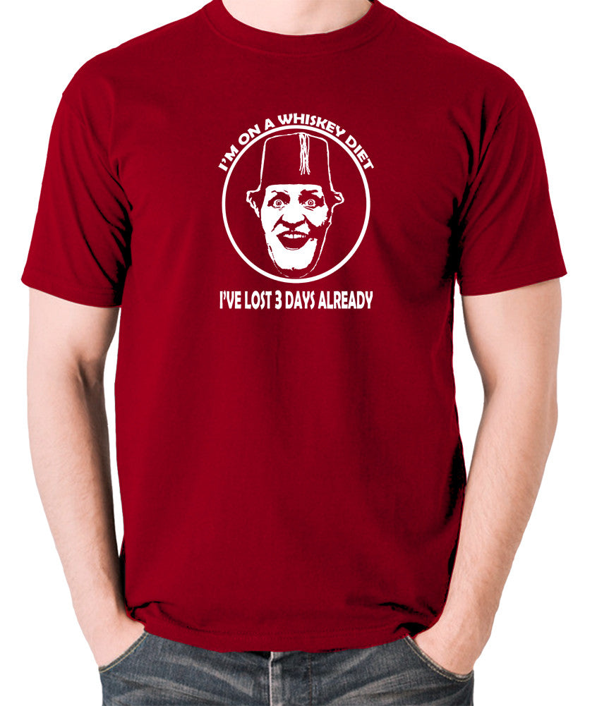 Tommy Cooper - I'm on a Whiskey Diet, I've Lost Three Days Already - Men's T Shirt - brick red