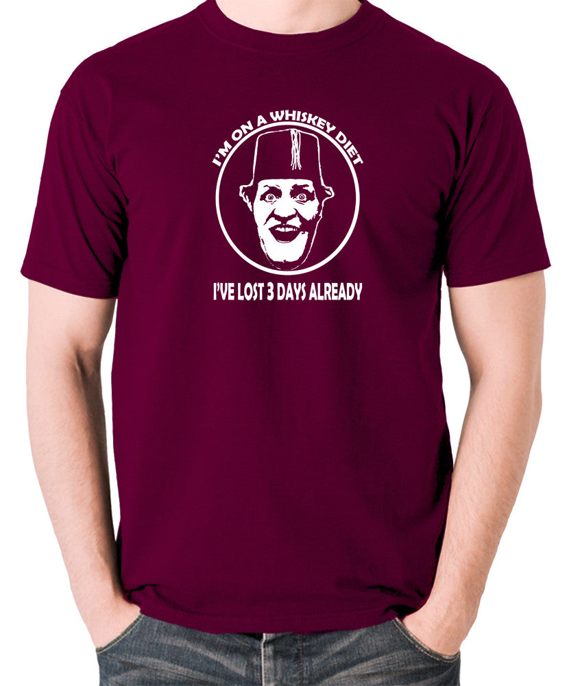 Tommy Cooper - I'm on a Whiskey Diet, I've Lost Three Days Already - Men's T Shirt - burgundy