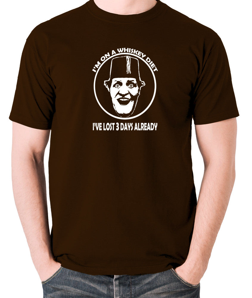 Tommy Cooper - I'm on a Whiskey Diet, I've Lost Three Days Already - Men's T Shirt - chocolate