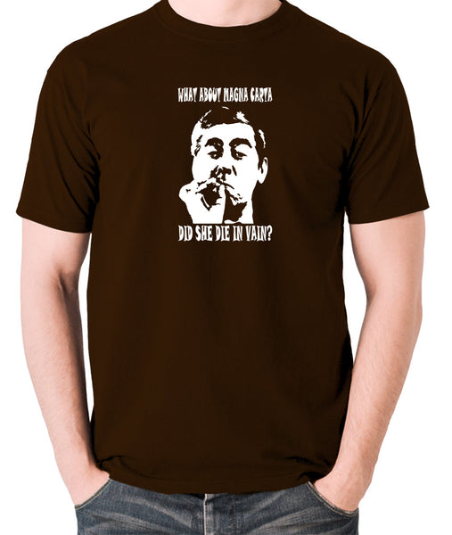 Tony Hancock - Hancock's Half Hour - What About Magna Carta Did She Die In Vain - Men's T Shirt - chocolate