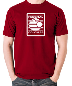 Total Recall - Federal Colonies Badge - Mens T Shirt - brick red