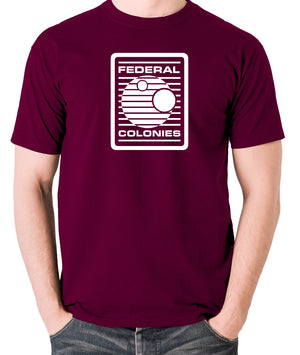 Total Recall - Federal Colonies Badge - Mens T Shirt - burgundy