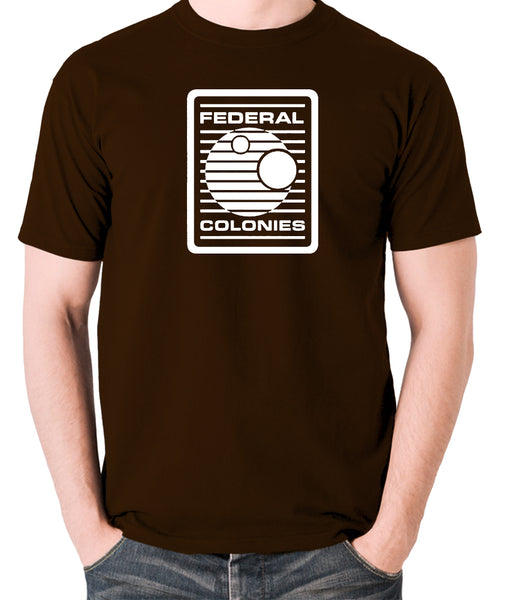 Total Recall - Federal Colonies Badge - Mens T Shirt - chocolate