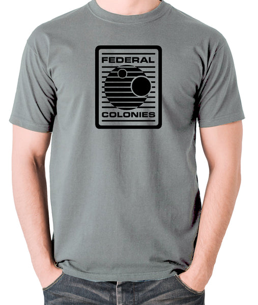 Total Recall - Federal Colonies Badge - Mens T Shirt - grey