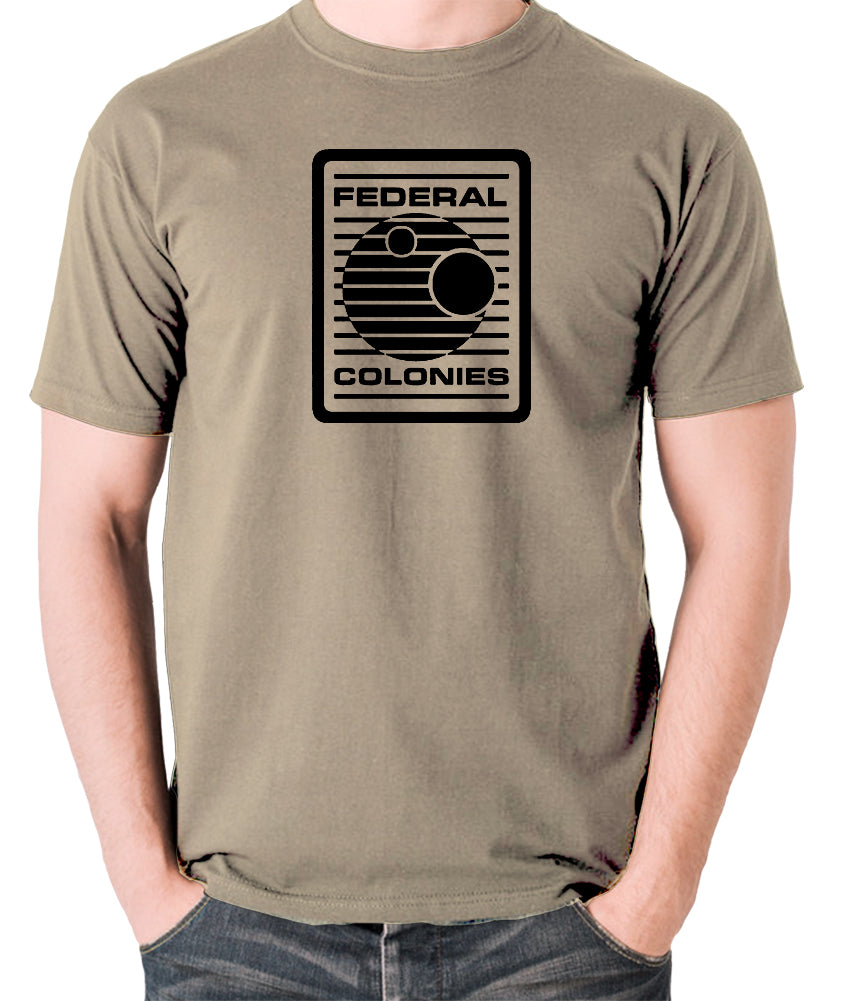 Total Recall - Federal Colonies Badge - Mens T Shirt - khaki