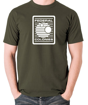 Total Recall - Federal Colonies Badge - Mens T Shirt - olive