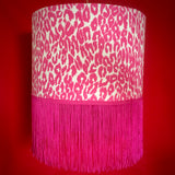 Pink leopard animal print shade with long fringe trim
