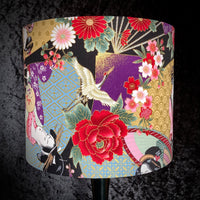 Japanese style shade featuring geisha, cranes and cherry blossom with gold metallic highlights
