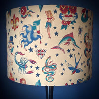 Traditional tattoo flash lampshade