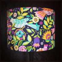 Birds and Berries folk art lampshade