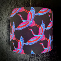 Black handmade shade patterned with Japanese cranes