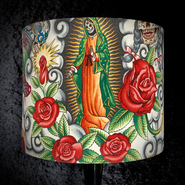 Lampshade with Day of the Dead imagery on cream background