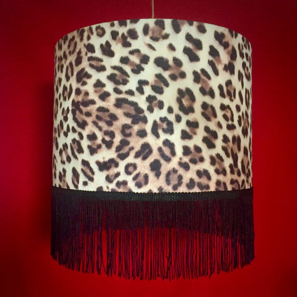 Fringed leopard print lampshade