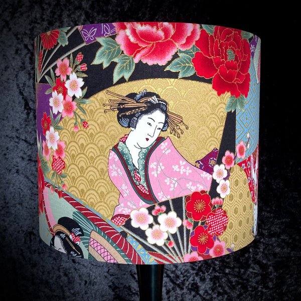 Japanese style shade featuring geisha and cherry blossom with gold metallic highlights