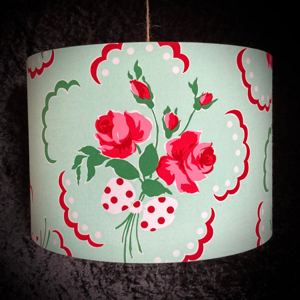 Mint green lampshade with vintage style rose design