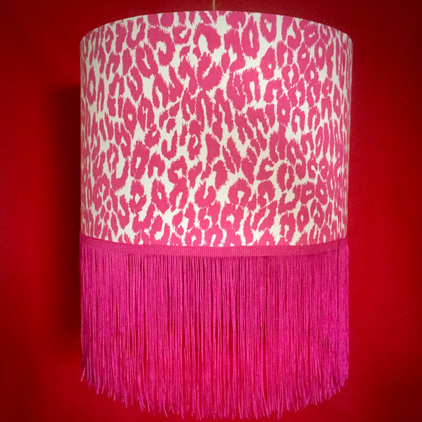 Pink leopard animal print lampshade with fringe