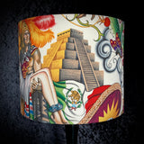 Lampshade with Aztec temple on a cream background