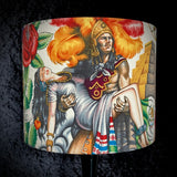 Lampshade with Aztec Warrior on cream background