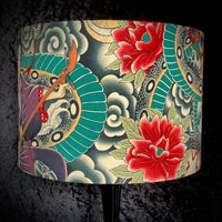 Drum lampshade featuring lotus flowers and snakes in a Japanese style