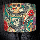 Lampshade featuring snakes and skulls in a Japanese style