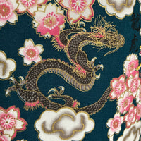 Close up image of dragon and cherry blossom with metallic gold highlights on a teal background