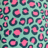 Close-up of lampshade -Pink and dark teal leopard spots on a light turquoise background