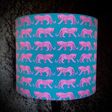 Deep teal shade with pink leopard design