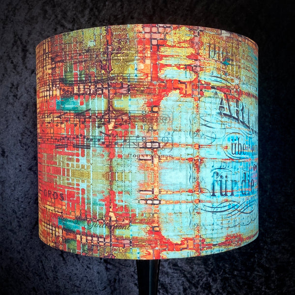 Blue and copper patinated design lampshade made by Bird and Button