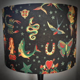 Black lampshade with vintage tattoo designs