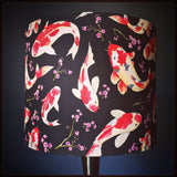 Black lampshade with tropical koi fish design