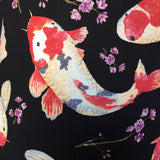 Japanese koi fish design on black background
