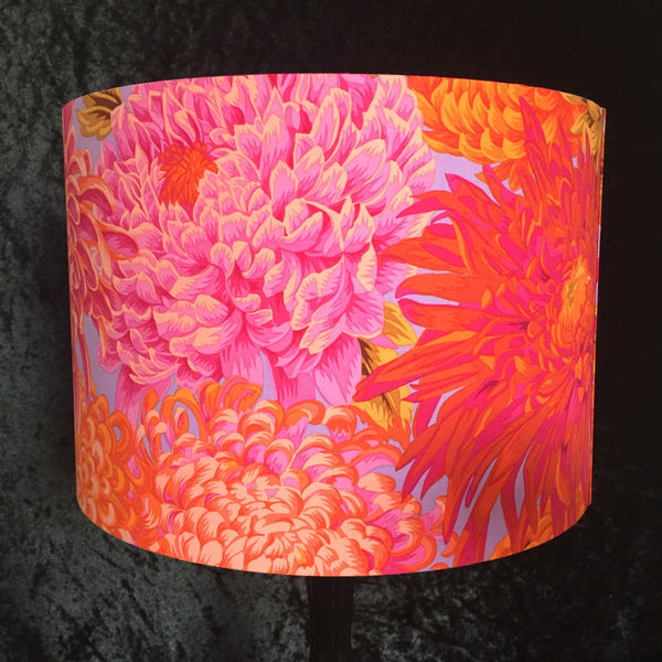 Orange and pink Japanese chrysanthemum lampshade