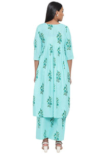 Cenizas Women's Cotton Kurti with Palazzo Pant Set - Sea Green