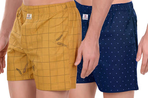 SIDEKICK Men's Cotton Boxers/Shorts - Combo (Pack of 2) Cream-Yellow