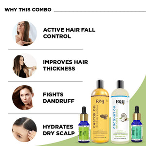 Rey Naturals hair oils combo/hair care kit (Castor oil + Coconut oil + Tea tree oil + Rosemary oil) controls hairfall - For healthy hair - No Mineral Oil, Silicones & Synthetic Fragrance