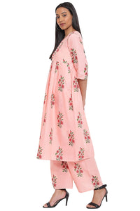 Cenizas Women's Cotton Kurti with Palazzo Pant Set - Peach color
