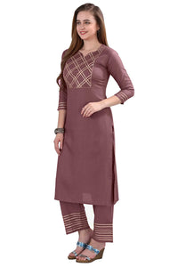 POTIKA Women's Rayon Cotton Salwar suit (Kurta-Palazzo Pant set) - Wine