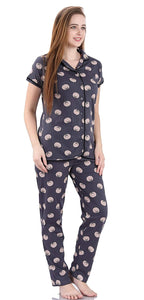 Fashigo Women Night Suit - Cotton (Tomato Printed Shirt & Pyjama Set)