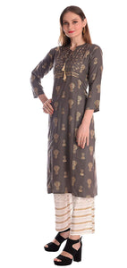 POTIKA Women's Rayon Cotton Salwar suit (Striaght Kurta with palazzo)