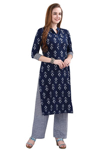 POTIKA Women's Rayon Cotton Salwar suit (Striaght Kurta with checkered trouser) - Navy Blue