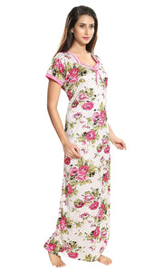 Two Dots Women's Satin Floral Maxi Night Gown - Free Size
