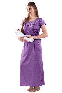 Fashigo Textured Maternity Nighty for Women Feeding, Concealed Zip, Nursing Nighty