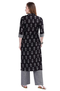 POTIKA Women's Rayon Cotton Salwar suit (Striaght Kurta with checkered trouser)