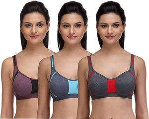 Fashigo Women's Non Padded Sports Bra - Multicolor (Pack of 3)