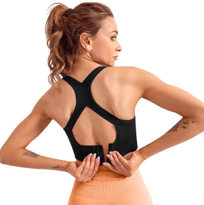Two Dots High Impact Vest-style Nylon-Spandex Padded (With Removable Pads), Non-Wired, Quick dry shockproof Sports Bra for women stylish - for Gym, Yoga, Dancing, Running, Fitness, Workout or Aerobic
