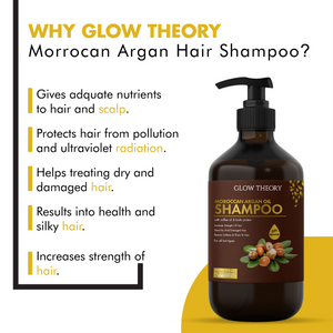 GLOW THEORY Moroccan Argan Oil Shampoo with coffee oil & biotin protein for all hair types - increases strength of hair , Restores softness & shine to hair - 300 ml