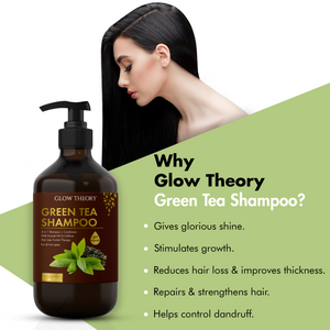 GLOW THEORY Green Tea Shampoo (2 in 1 : Shampoo + Conditioner) with Emortel Pep & Caffeine - Hairfall/hairloss control therapy for all hair types - 300 ml
