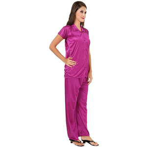 Fashigo Women's Solid Satin Top & Pyjama Set (Free Size)