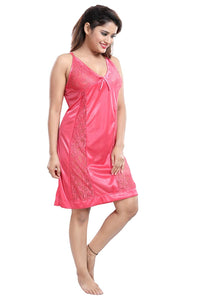 Fashigo Women's 2 Piece Satin Nighty/Nightwear Set/Night Suit (Free Size)