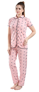 Fashigo Women's Cotton Night Suit (Heart Printed Shirt & Pyjama Set)